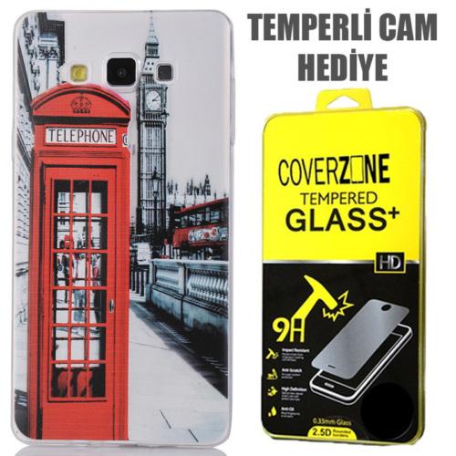 CoverZone Samsung Galaxy E7 Kılıf 0.3mm İnce Silikon Telefon Kulübesi + Temperli Cam