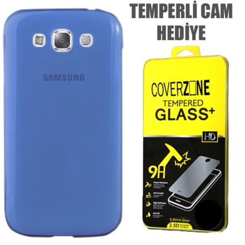 CoverZone Samsung Galaxy E5 Kılıf 0.3mm İnce Silikon Mavi + Temperli Cam