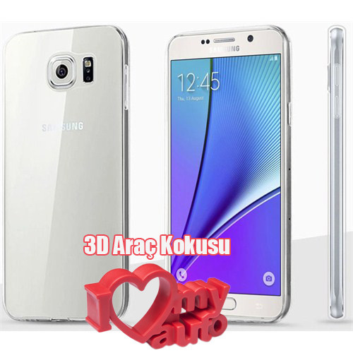 CoverZone Samsung Galaxy S6 Edge Plus Kılıf 0.3Mm Silikon Şeffaf + 3d Araç Kokusu