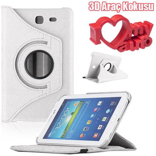 CoverZone Samsung Galaxy Tab E T560 Kılıf 360 Derece Döner Beyaz + 3d Araç Kokusu