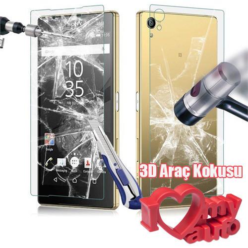 CoverZone Sony Xperia Z5 Compact Temperli Ön Ve Arka Yüzey Ekran Koruma Filmi + 3d Araç Kokusu
