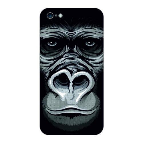 Bordo İphone 5S Kapak Kılıf Goril Baskılı Silikon
