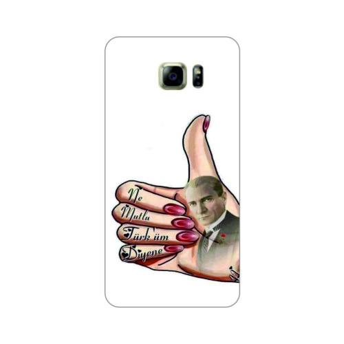 Bordo Samsung Galaxy S6 Edge Kapak Kılıf Atatürk Baskılı Silikon