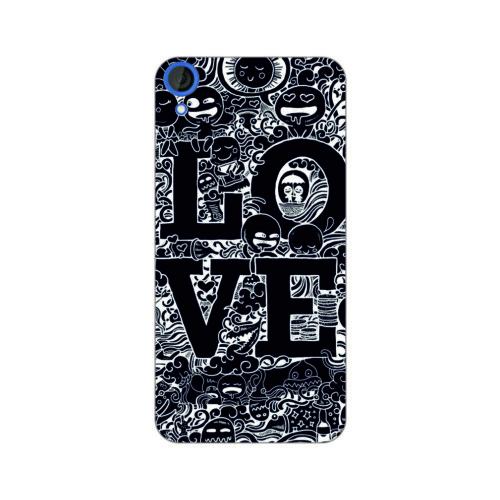 Bordo Htc Desire 828 Kapak Kılıf Love Baskılı Silikon