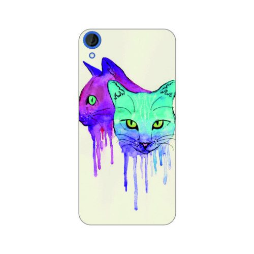 Bordo Htc Desire 828 Kapak Kılıf Renkli Kedi Baskılı Silikon