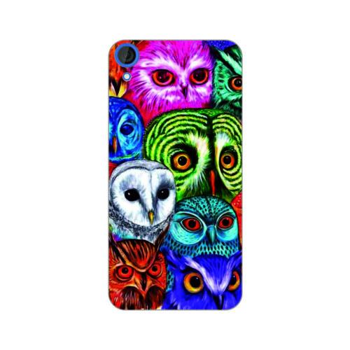 Bordo Htc Desire 828 Kapak Kılıf Renkli Baykuş Baskılı Silikon