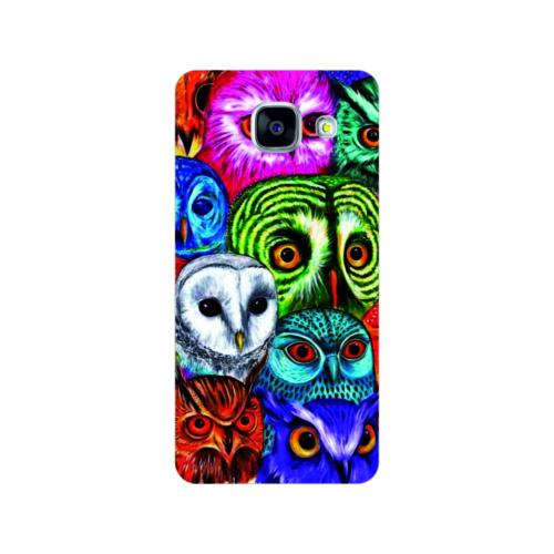 Bordo Samsung Galaxy A5 2016 Kapak Kılıf Renkli Baykuş Baskılı Silikon