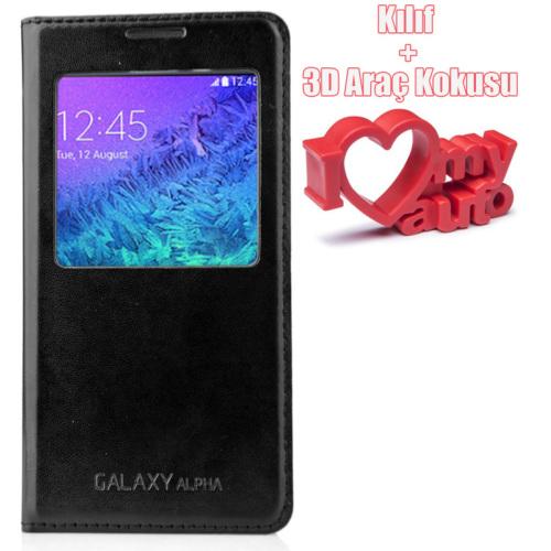 CoverZone Samsung Galaxy Alpha Kılıf Pencereli Flip Cover Siyah