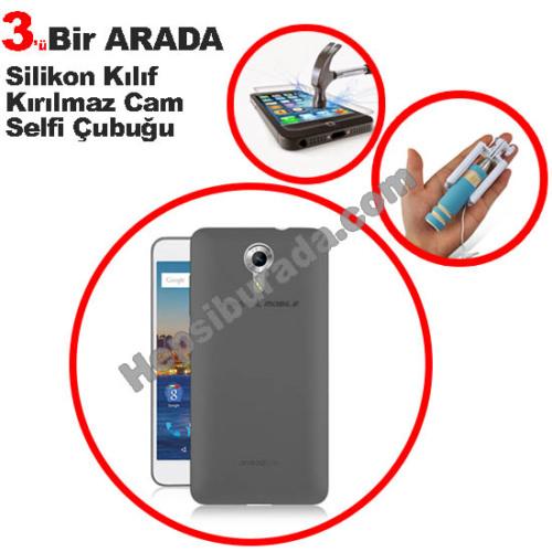 Teknomeg General Mobile Discovery 4G Android One Füme Silikon Kılıf + Temperli Kırılmaz Cam + Selfie