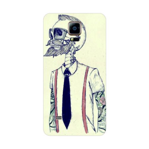 Bordo Samsung Galaxy Note 4 Kapak Kılıf Kuru Kafa Baskılı Silikon