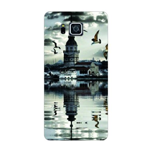 Bordo Samsung Galaxy Alpha Kapak Kılıf Kız Kulesi Baskılı Silikon