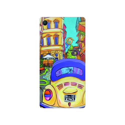 Bordo Sony Xperia M4 Aqua Kapak Kılıf Renkli Vosvos Baskılı Silikon