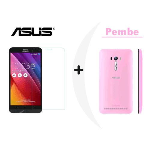 Toptancı Kapında Asus Zenfone 6 Pembe Şeffaf Silikon Kılıf + Kırılmaz Cam
