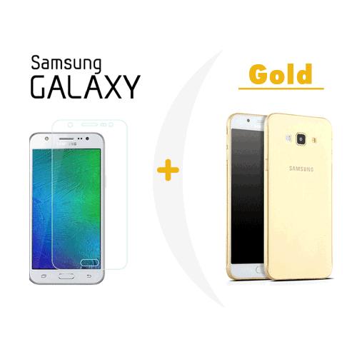 Toptancı Kapında Samsung On7 Gold Şeffaf Silikon Kılıf + Kırılmaz Cam
