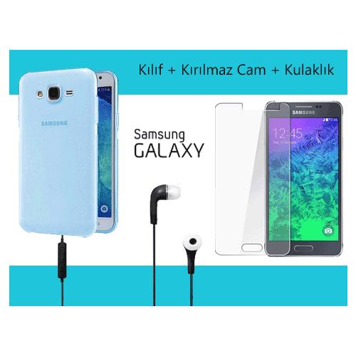 Toptancı Kapında Samsung S4 Mini Mavi Silikon Kılıf+ Kırılmaz Cam+Kulaklık
