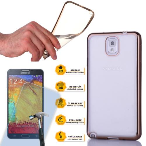 Cep Market Samsung Galaxy Note 3 Kılıf 0.3MM Lazer Silikon + Kırılmaz Cam