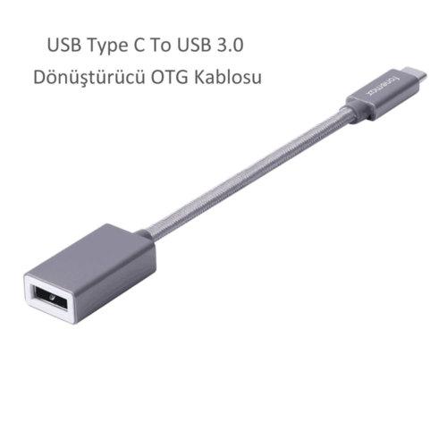 Case 4U Fonemax USB Type C To USB 3.0 Dönüştürücü OTG Kablosu Gri