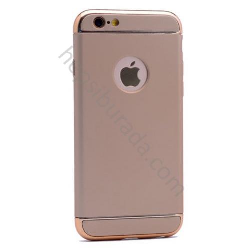 Case 4U Apple iPhone 5E 3 Parçalı Rubber Kapak Gold-Parlak Gold