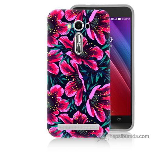 Bordo Asus Zenfone 2 Laser 5.0 Kapak Kılıf Pembe Çiçek Baskılı Silikon