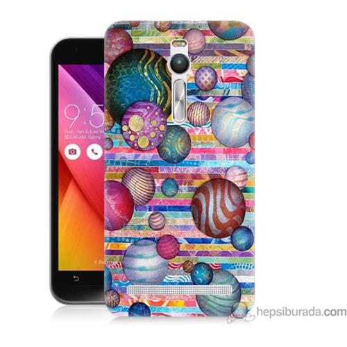 Bordo Asus Zenfone 2 Kapak Kılıf Renkli Toplar Baskılı Silikon