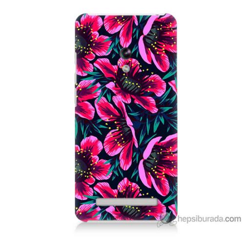 Bordo Asus Zenfone 6 Kapak Kılıf Pembe Çiçek Baskılı Silikon
