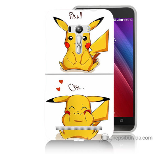 Bordo Asus Zenfone Selfie Kapak Kılıf Pokemon Görsel Baskılı Silikon