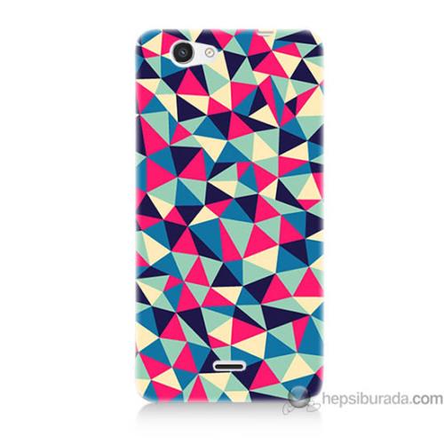 Bordo Casper Via V8c Kapak Kılıf Renkli Üçgenler Baskılı Silikon