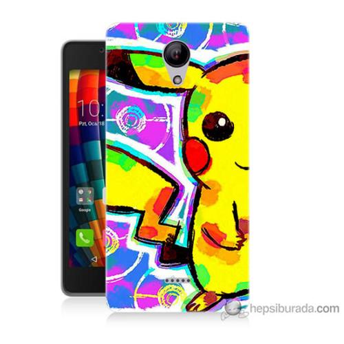 Bordo Casper Via E1 Kapak Kılıf Sevimli Pikachu Baskılı Silikon