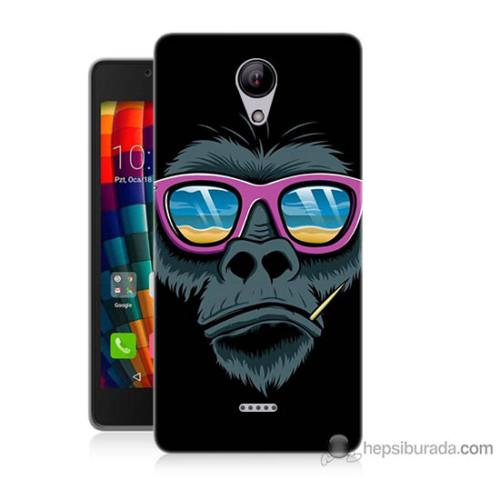 Bordo Casper Via E1 Kapak Kılıf Gözlüklü Maymun Baskılı Silikon