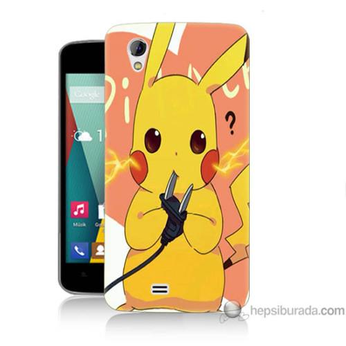Bordo General Mobile Discovery 2 Mini Kapak Kılıf Düşünen Pikachu Baskılı Silikon