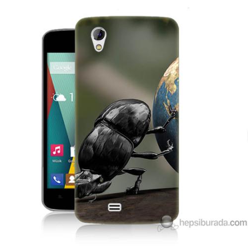 Bordo General Mobile Discovery 2 Mini Kapak Kılıf Dünyayı İten Böcek Baskılı Silikon