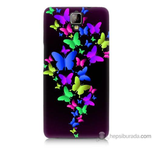 Bordo General Mobile Discovery 2 Plus Kapak Kılıf Renkli Kelebekler Baskılı Silikon