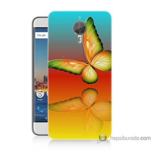 Bordo General Mobile Gm5 Plus Kapak Kılıf Sarı Kelebek Baskılı Silikon