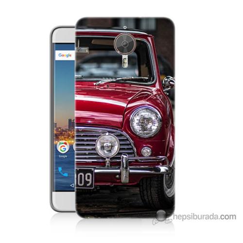 Bordo General Mobile Gm5 Plus Kapak Kılıf Kırmızı Klasik Araba Baskılı Silikon