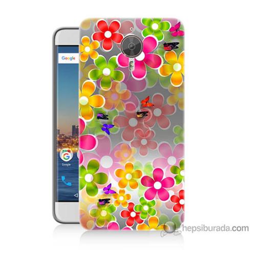 Bordo General Mobile Gm5 Plus Kapak Kılıf 3D Çiçek Baskılı Silikon
