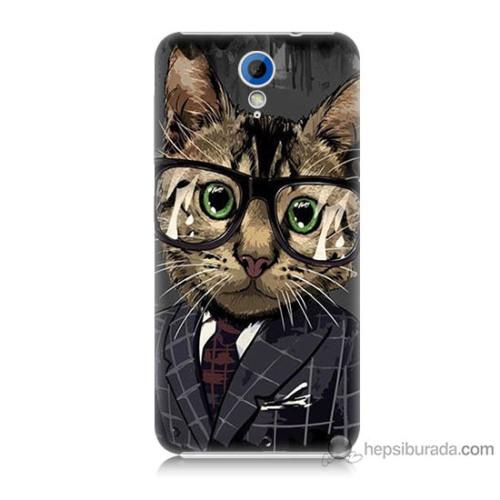 Bordo Htc Desire 620 Kapak Kılıf Çalışan Kedicik Baskılı Silikon