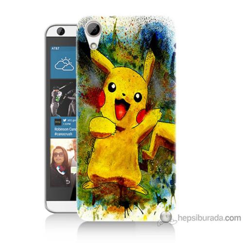 Bordo Htc Desire 626 Kapak Kılıf Tablo Pikachu Baskılı Silikon