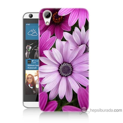 Bordo Htc Desire 626 Kapak Kılıf Mor Çiçek Baskılı Silikon