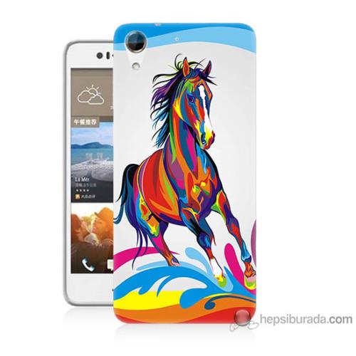 Bordo Htc Desire 728 Kapak Kılıf Renkli At Baskılı Silikon