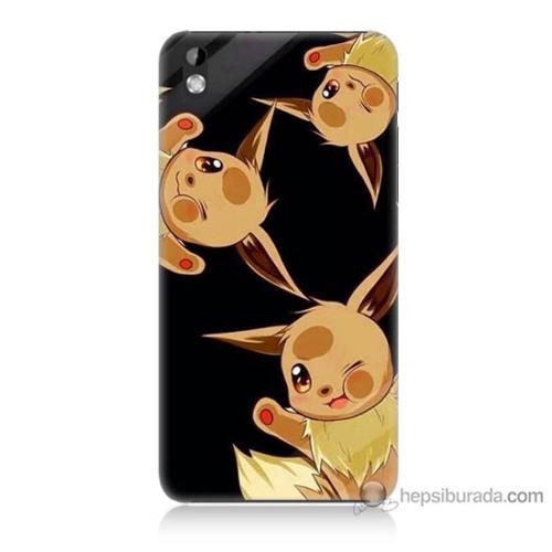 Bordo Htc Desire 816 Kapak Kılıf Üçlü Pikachu Baskılı Silikon