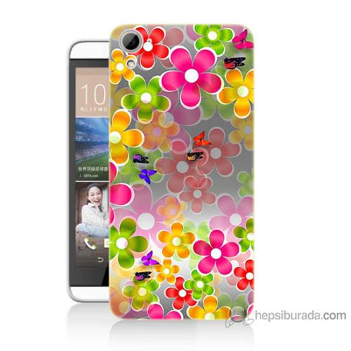 Bordo Htc Desire 826 Kapak Kılıf 3D Çiçek Baskılı Silikon
