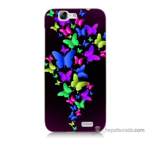Bordo Huawei G7 Kapak Kılıf Renkli Kelebekler Baskılı Silikon