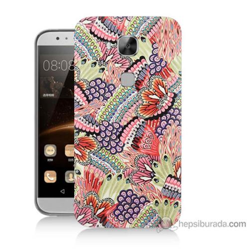 Bordo Huawei G8 Kapak Kılıf Renkli Desenler Baskılı Silikon