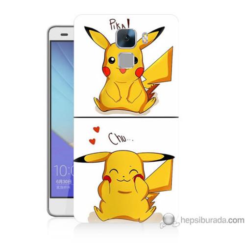 Bordo Huawei Honor 7 Kapak Kılıf Pokemon Görsel Baskılı Silikon