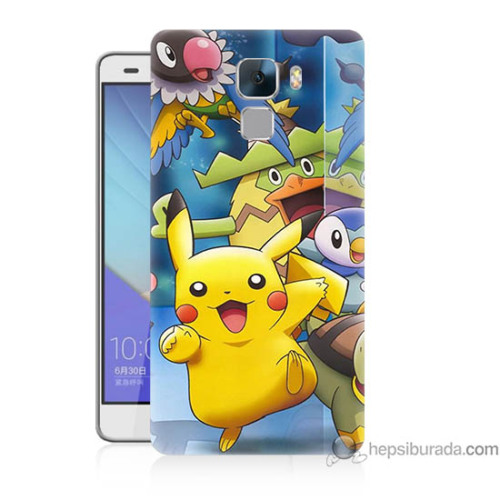 Bordo Huawei Honor 7 Kapak Kılıf Pikachu Ve Arkadaşları Baskılı Silikon