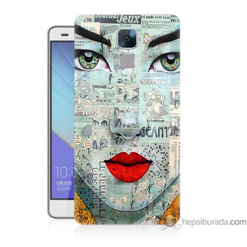 Bordo Huawei Honor 7 Kapak Kılıf Karikatür Yüz Baskılı Silikon