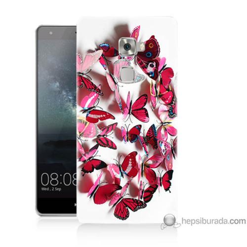 Bordo Huawei Mate S Kapak Kılıf Pembe Kelebekler Baskılı Silikon