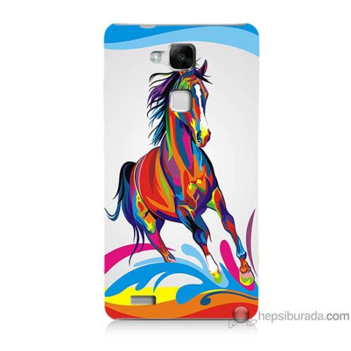Bordo Huawei Mate 7 Kapak Kılıf Renkli At Baskılı Silikon