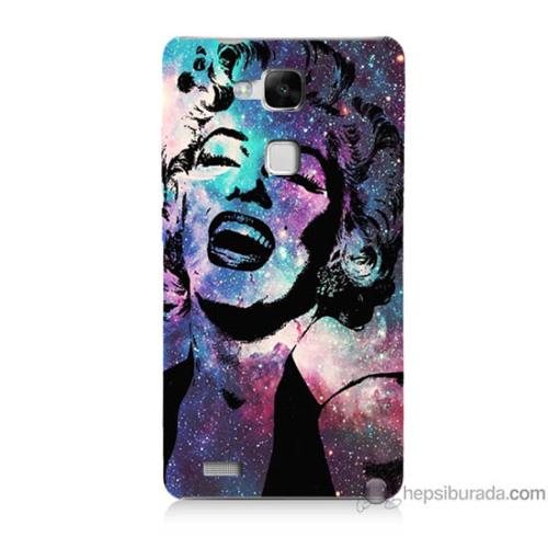 Bordo Huawei Mate 7 Kapak Kılıf Marilyn Monroe Baskılı Silikon