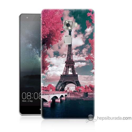 Bordo Huawei Mate S Kapak Kılıf İlkbahar Paris Baskılı Silikon